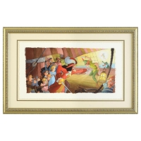 "Toby Bluth Signed ""Blast You Pan"" 30.5"" x 20"" Custom Framed Limited Edition Giclee Licensed by Disney Fine Art"