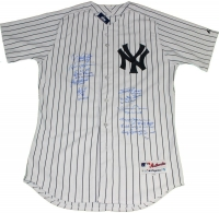 New York Yankees LE World Series MVP Jersey Team-Signed by (10) with Derek Jeter, Mariano Rivera, Whitey Ford (Steiner COA)