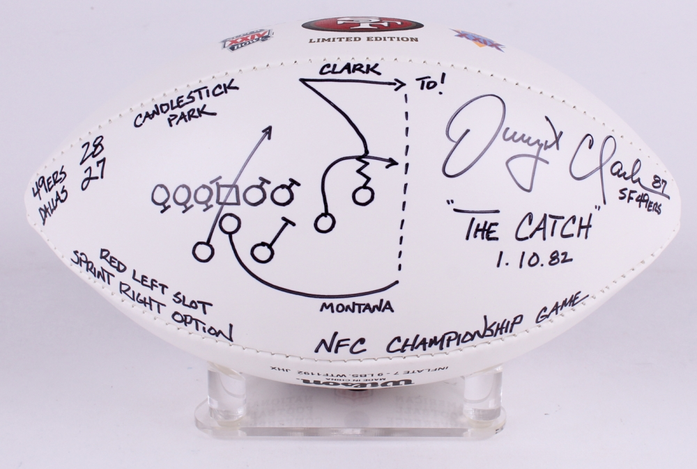 d8db7b20713 Dwight Clark Signed LE 49ers 5-Time Super Bowl Champions Logo Football with  Hand-
