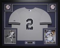 """Derek Jeter Signed Yankees 35"""" x 43"""" Custom Framed Jersey (Steiner COA & MLB)"""