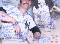Thurman Munson Yankees 16x20 Photo Signed by (35) with Lou Piniella, Ron Blomberg, Sparky Lyle, Jimmy Wynn, Cliff Johnson, Al Downing, Jay Johnstone (MAB Hologram) at PristineAuction.com