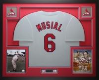 Stan Musial Signed 35x43 Custom Framed Jersey (PSA COA)