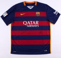 "Lionel Messi, Neymar Jr. & Luis Suarez ""Tres Amigos"" Signed FC Barcelona Home Jersey (Icons COA)"