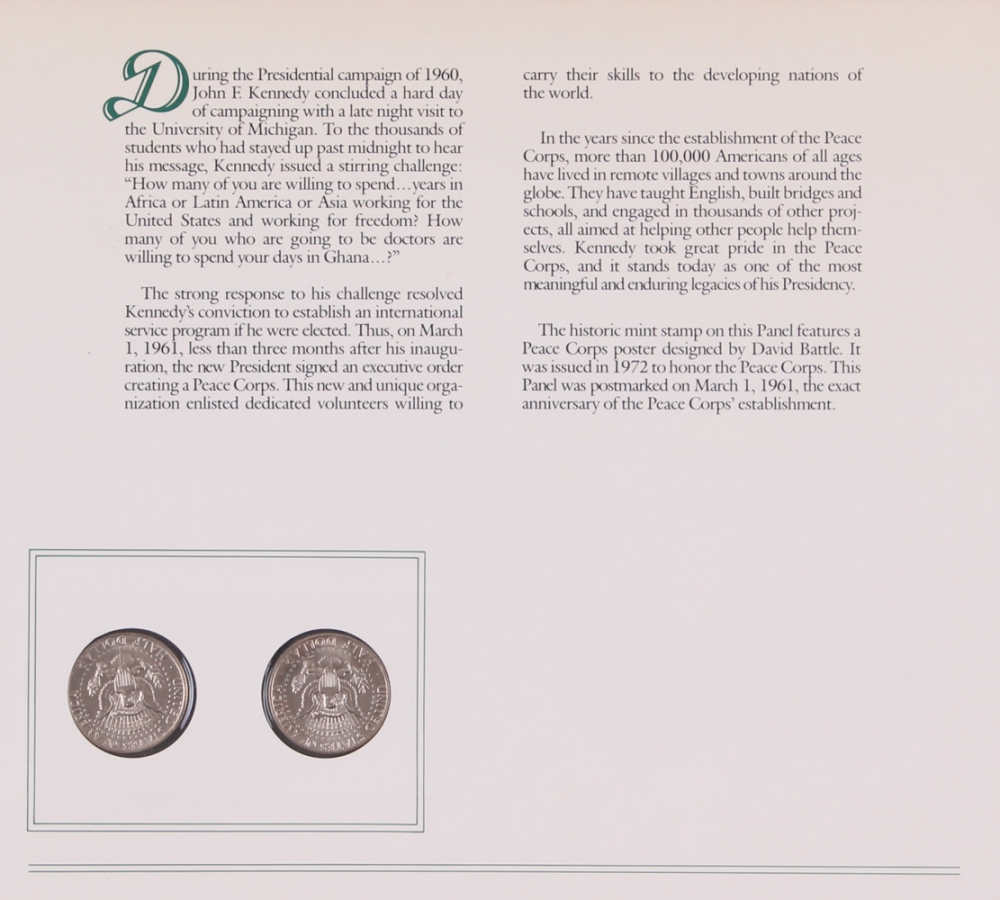 John F Kennedy Coin Stamp Set With 2 Uncirculated 1974 Half