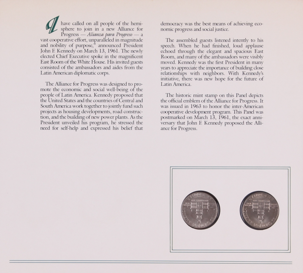 John F Kennedy Coin Stamp Set With 2 Uncirculated 1976 Half