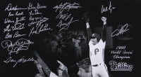 """1980 Phillies """"World Series Celebration"""" 16x20 Photo Signed By (18) with Bob Boone, Warren Brusstar, Marty Bystrom, Larry Christenson, Lee Elia, Dallas Green, Greg Gross, Garry Maddox, Bake McBride, Keith Moreland (MAB Hologram) at PristineAuction.com"""
