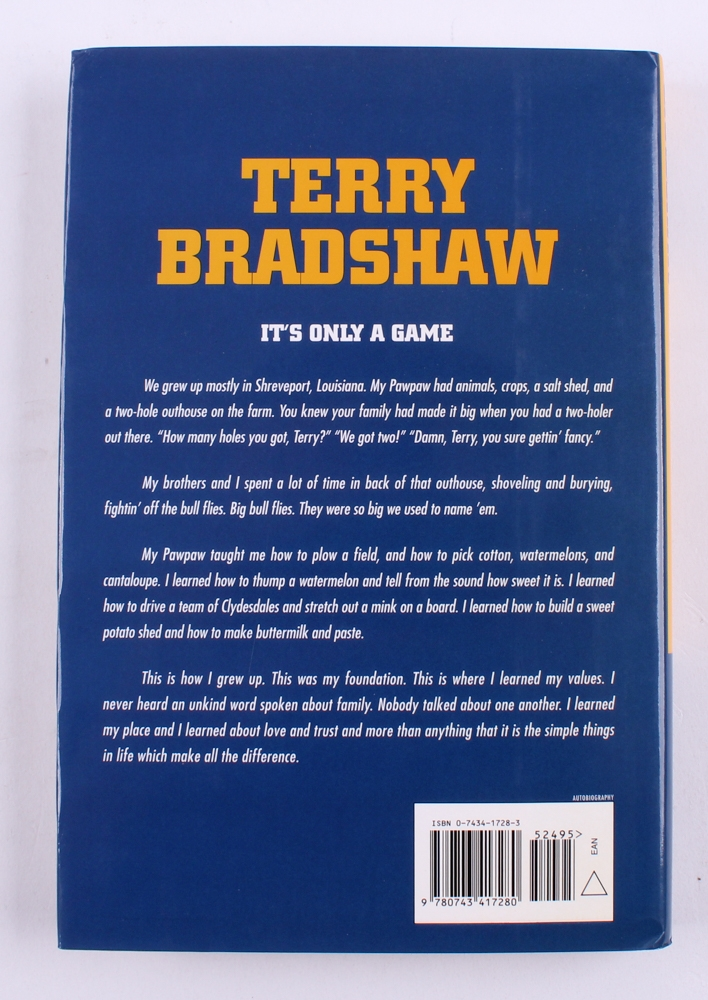 terry bradshaw signed its only a game hardback book jsa coa at