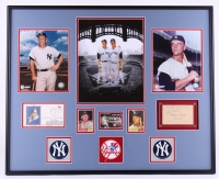 Mickey Mantle & Roger Maris Signed Yankees 27x34 Custom Framed Display Featuring a FDC Catchet & a 1960 Baseball Banquet Ticket (JSA LOA)