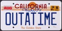 "Michael J. Fox Signed ""OUTATIME"" California License Plate ""Back to the Future"" Prop Replica (JSA COA)"