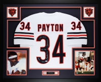 Walter Payton Signed Bears 35x43 Custom Framed Jersey with (5) Career Stat Inscriptions (PSA LOA)