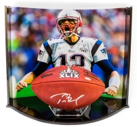 Tom Brady Signed Super Bowl XLIX NFL Official Game Ball with Custom Curve Display Case (TriStar Hologram)