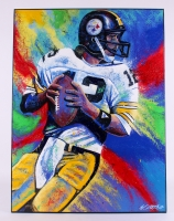 "Bill Lopa ""Terry Bradshaw"" Signed Limited Edition Hand-Embellished 30x40 AROC Giclee on Canvas #11/12"