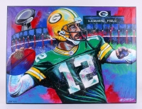 "Bill Lopa ""Aaron Rodgers"" Signed Limited Edition Hand-Embellished 30x40 AROC Giclee on Canvas #10/12"