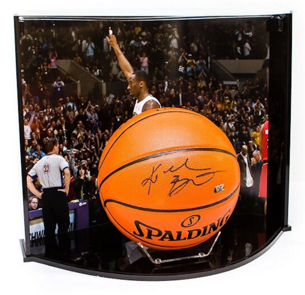kobe bryant signed nba game ball series basketball with custom curve display case panini coa - Basketball Display Case