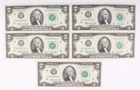 Lot of (5) Uncirculated Sequentially Numbered 1976 $2 Two-Dollar Federal Reserve Notes