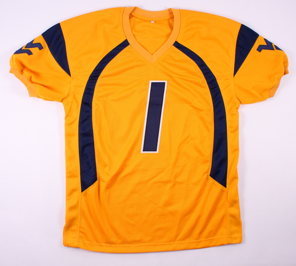 ... hoodie yellow  tavon austin signed west virginia mountaineers jersey  (fca coa) at pristineauction 389d8c598