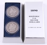 Historic U.S. Silver Dollar Set of (2) 1890-O Morgan Silver Dollars with Display Box