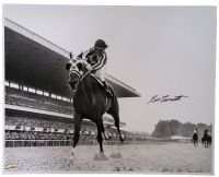 "Ron Turcotte Signed ""Looking Back"" on Secretariat at Belmont Stakes 16x20 Photo (SI COA)"