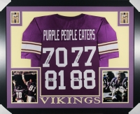 "Vikings ""Purple People Eaters"" 35x43 Custom Framed Jersey Team-Signed by (4) with Alan Page, Carl Eller, Jim Marshall & Gary Larsen (JSA COA)"