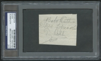 Babe Ruth, Tris Speaker & Ty Cobb Signed 2x3 Cut (PSA Encapsulated)