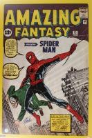 """Stan Lee Signed Marvel """"Spider-Man"""" Amazing Fantasy 24x36 Comic Book Poster (Lee Hologram)"""