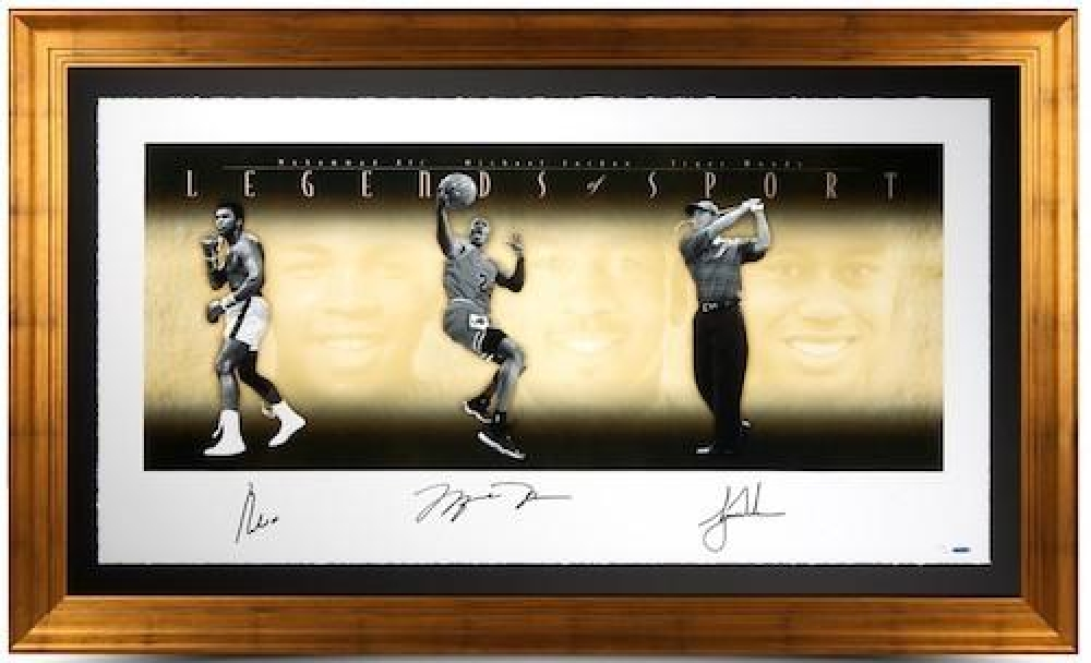 "Muhammad Ali, Michael Jordan & Tiger Woods Signed ""Legends of Sport"" 57x34 Gold Framed Photo LE 500 (UDA COA) at PristineAuction.com"