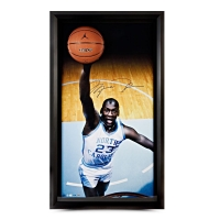 Michael Jordan Signed UNC 25x45 Custom Framed Photo Display with Basketball Breaking Through (UDA COA)