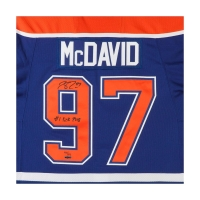 "Connor McDavid Signed Edmonton Oilers Authentic Reebok Blue Jersey Inscribed ""#1 Pick 2015"" LE 97 (UDA COA) at PristineAuction.com"