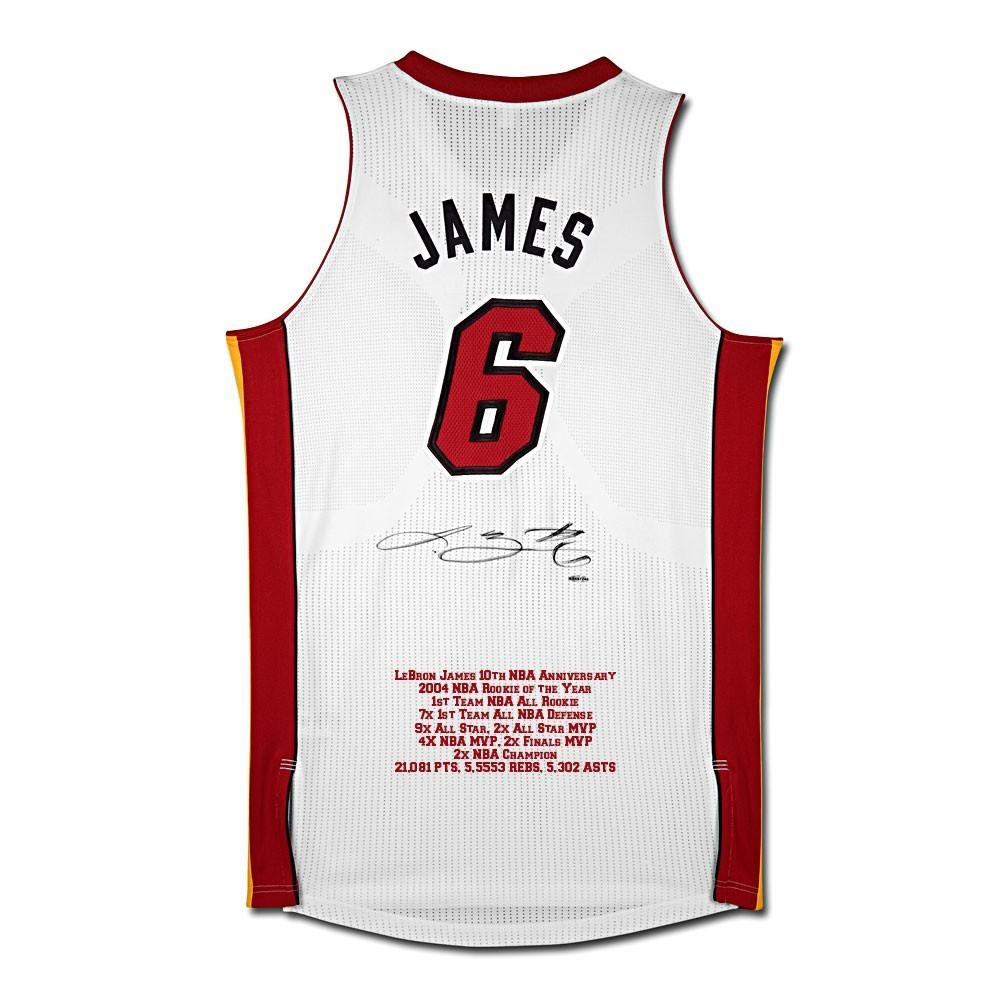 """LeBron James Signed Heat LE """"10th Anniversary"""" Highlight Stat Jersey (UDA COA) at PristineAuction.com"""
