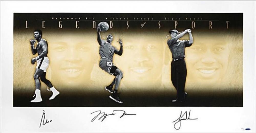 "Muhammad Ali, Michael Jordan & Tiger Woods Signed ""Legends of Sport"" LE 25x49 Photo (UDA COA) at PristineAuction.com"