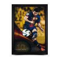 "Lionel Messi Signed Barcelona ""Flea Flicker"" LE 34x49 Custom Framed Soccer Ball Breakthrough Display (UDA COA)"