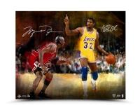 "Michael Jordan & Magic Johnson Signed ""Match Up"" LE 16x20 Aluminum Print (UDA COA) at PristineAuction.com"