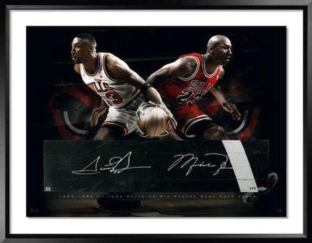 Michael Jordan & Scottie Pippen Signed Bulls LE 24x36 Custom Framed Game-Used Floor Display (UDA COA) at PristineAuction.com