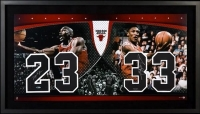 Michael Jordan & Scottie Pippen Signed LE 22x40 Custom Framed Jersey Number Display (UDA COA)