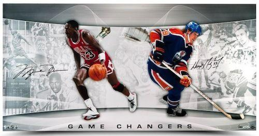"Michael Jordan & Wayne Gretzky Signed ""Game Changers"" LE 18x36 Photo (UDA COA) at PristineAuction.com"