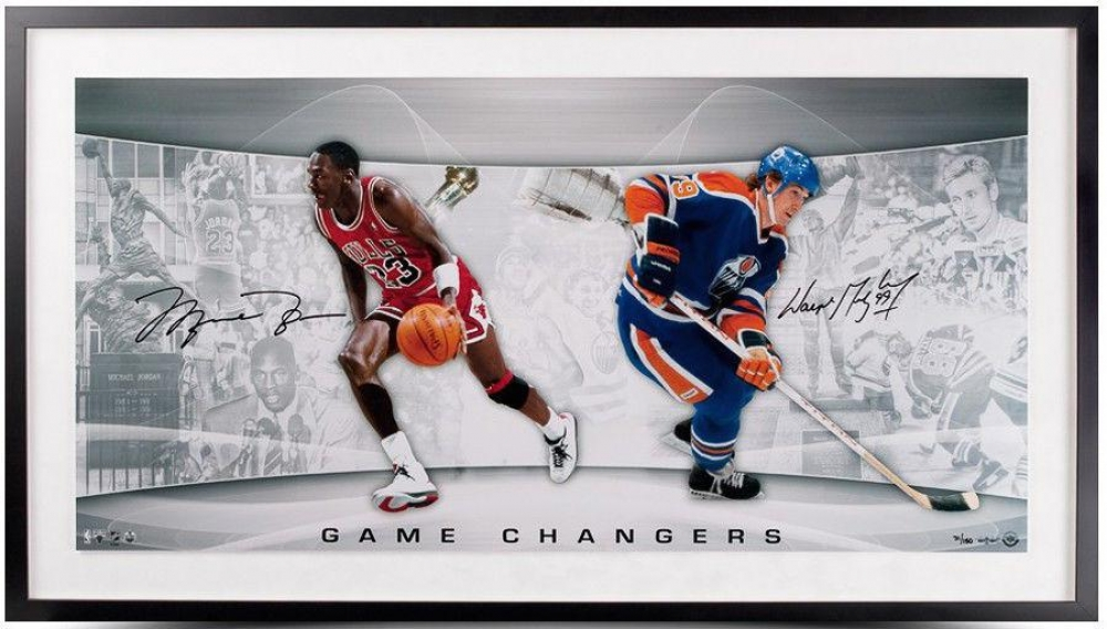 "Michael Jordan & Wayne Gretzky Signed ""Game Changers"" LE 18x36 Custom Framed Photo (UDA COA) at PristineAuction.com"