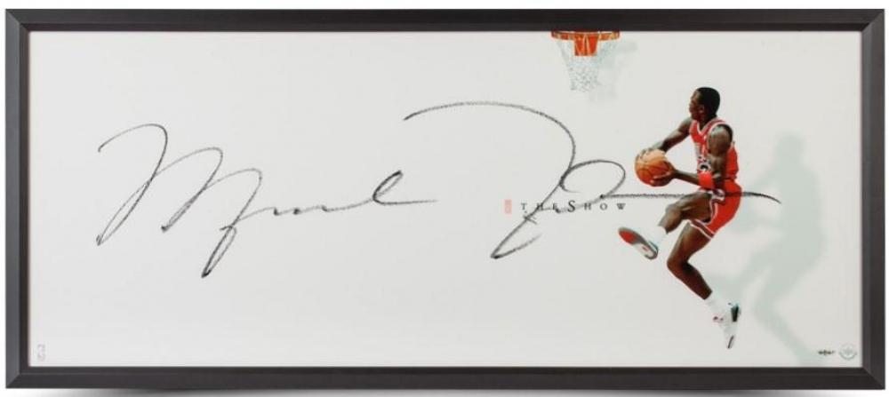 "Michael Jordan Signed Bulls ""The Show II"" 20x46 Custom Framed Photo Display (UDA COA) at PristineAuction.com"