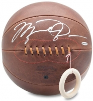 Michael Jordan Signed Naismith Leather Head Basketball (UDA COA)
