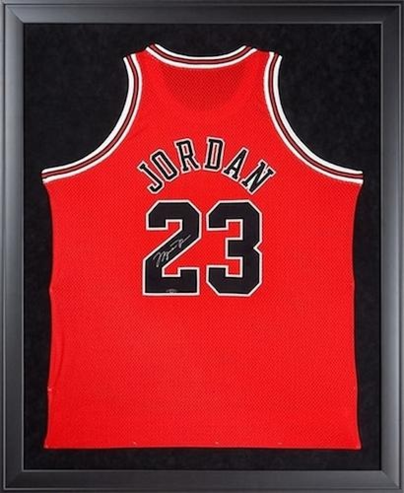 "Michael Jordan Signed Bulls 32"" x 44"" Custom Framed Jersey Display (UDA COA) at PristineAuction.com"