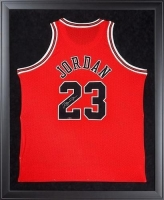 Michael Jordan Signed Bulls 32x44 Custom Framed Jersey Display (UDA COA)