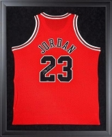 "Michael Jordan Signed Bulls 32"" x 44"" Custom Framed Jersey Display (UDA COA)"