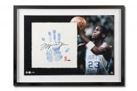 Michael Jordan Signed UNC Tarheels LE 20x28 Custom Framed Tegata Display (UDA COA)