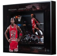 "Michael Jordan Signed Chicago Bulls ""1988 Gatorade Slam"" 16x20x2 Custom Framed Shadowbox Display (UDA COA) at PristineAuction.com"