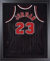 Michael Jordan Signed Bulls 32x44 Custom Framed Jersey Display (UDA COA)