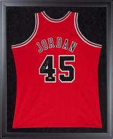 Michael Jordan Signed Bulls 32x44 Custom Framed  Mitchell & Ness Jersey Display (UDA COA)