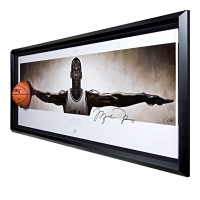 "Michael Jordan Signed Bulls ""Wings"" 31x90 Custom Framed Basketball Display (UDA COA)"