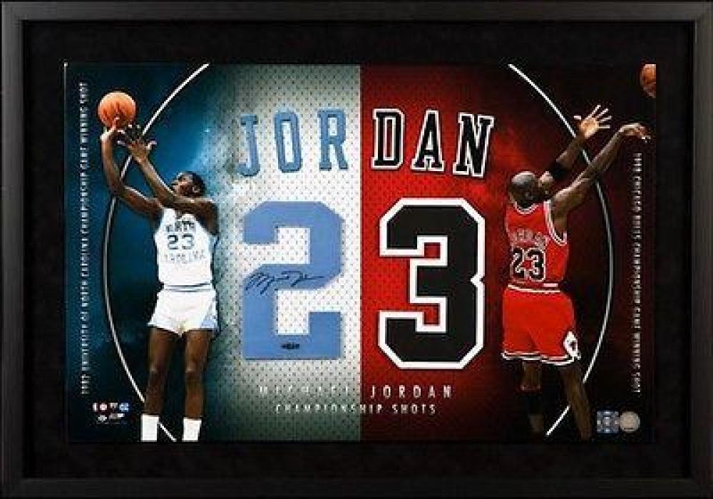 "Michael Jordan Signed ""Championship Shots"" 22x33 Custom Framed Jersey Number Display (UDA COA) at PristineAuction.com"