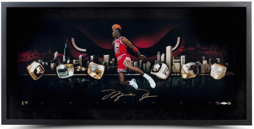 "Michael Jordan Signed Bulls ""City Of Rings"" LE 15x30 Custom Framed Photo (UDA COA) at PristineAuction.com"