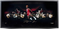 "Michael Jordan Signed Bulls ""City Of Rings"" LE 15x30 Custom Framed Photo (UDA COA) at PristineAuction.com"