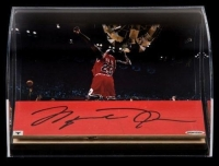 Michael Jordan Signed Chicago Bulls 1998 Game Used Floor Piece With Custom Curved Display (UDA COA) at PristineAuction.com